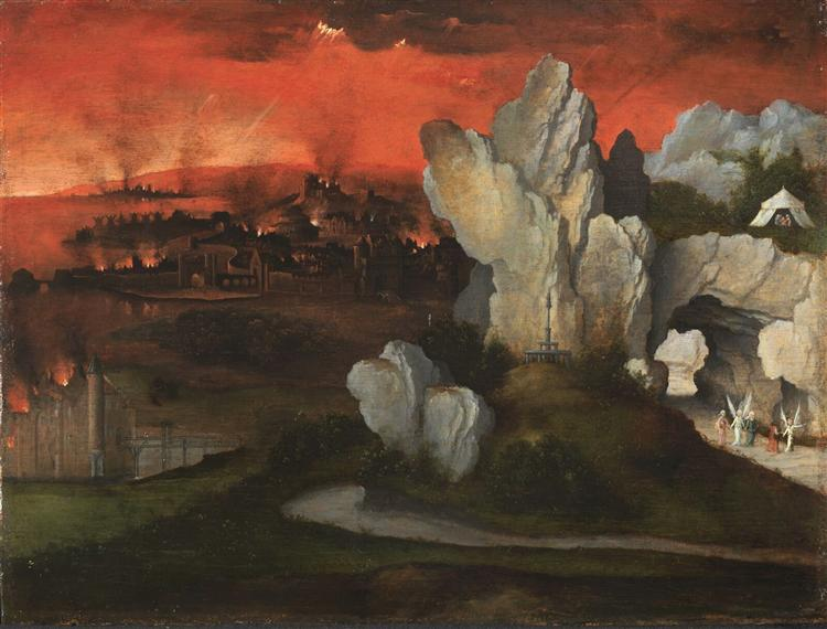 Landscape with the destruction of Sodom and Gomorrah, c.1520 - Joachim Patinir