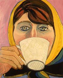 Self-Portrait in Scarf Drinking Tea - Joan Brown