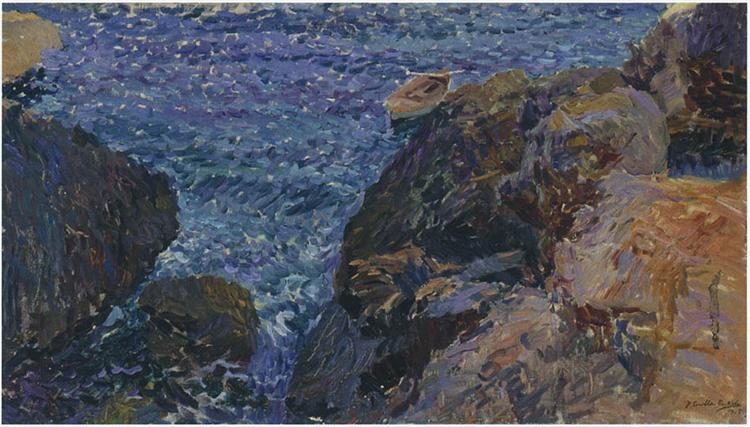 Rocks at Javea, The White Boat, 1905 - Joaquín Sorolla