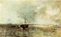 A Bomschuit On The Beach - Johan Hendrik Weissenbruch