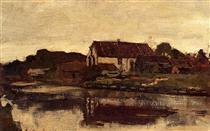 A Farm On The Waterfront - Johan Hendrik Weissenbruch