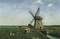 Landscape with windmill near Schiedam - Johan Hendrik Weissenbruch