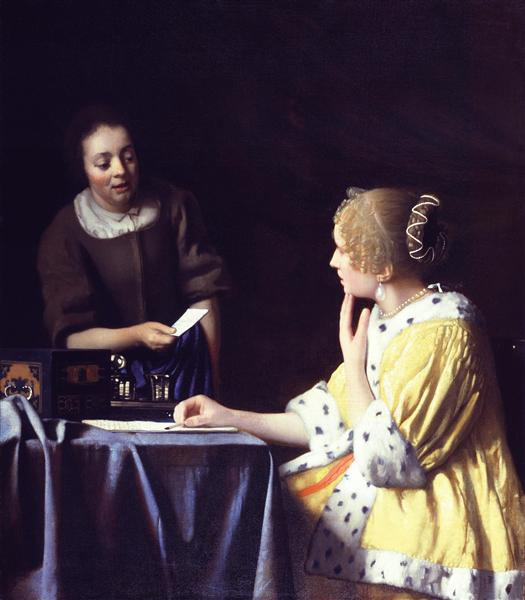 Mistress and Maid (Lady with Her Maidservant Holding a Letter ), c.1666 - c.1667 - Ян Вермер