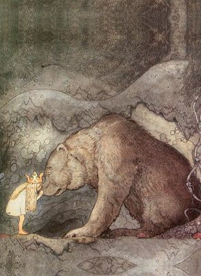 She kissed the bear on the nose - John Bauer