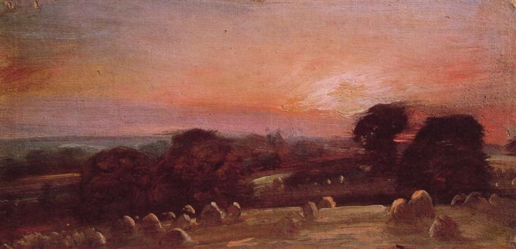 A Hayfield near East Bergholt at Sunset, 1812 - John Constable