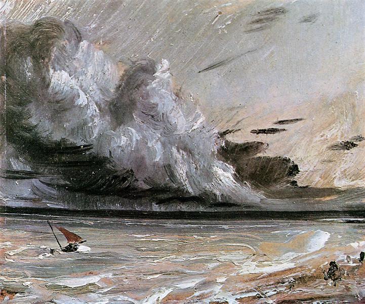 Coast scene with breaking cloud Sun - John Constable