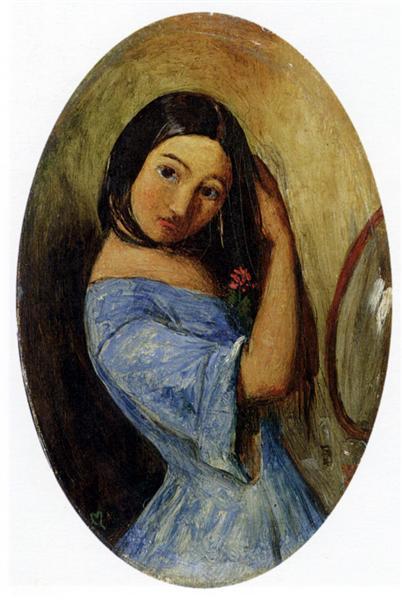 A Young Girl-Combing Her Hair - John Everett Millais