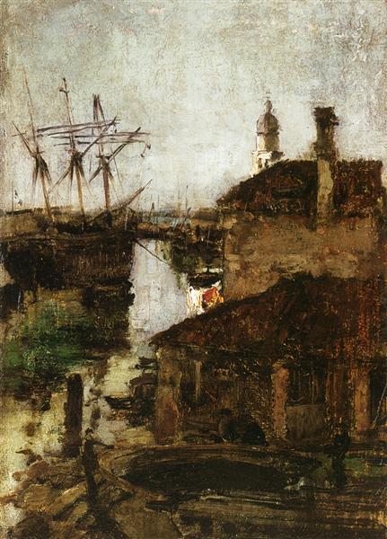 Ship and Dock, Venice, c.1878 - John Henry Twachtman