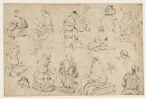 Studies of Peasant Women, and a Horseman - Джон Варлі