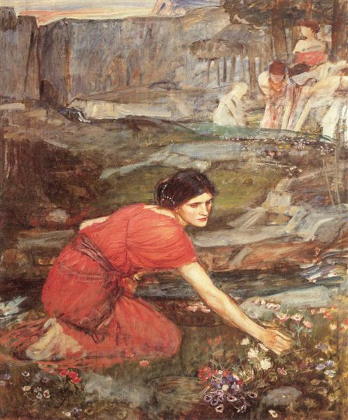 Maidens picking Flowers by a Stream, c.1911 - John William Waterhouse