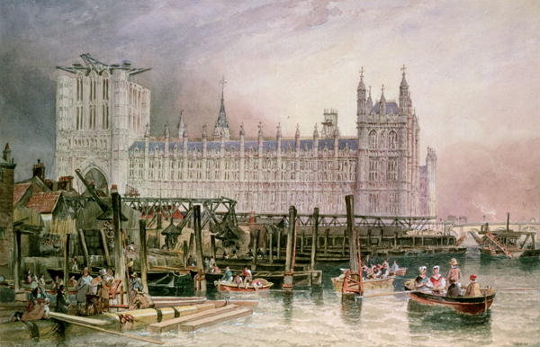 The Houses of Parliament in Course of Erection - John Wilson Carmichael