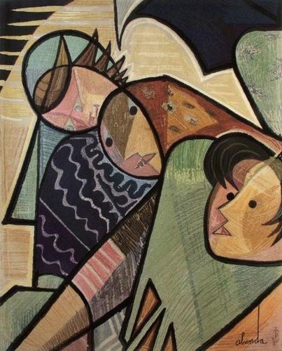 Fisherwoman, tapestry - Jose de Almada-Negreiros