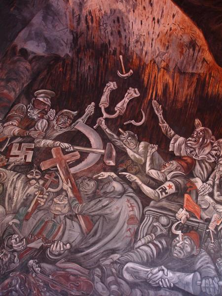 The Clowns of War Arguing in Hell, 1944 - Jose Clemente Orozco
