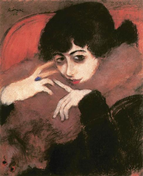 Shivering Girl with a Blue Ring - Jozsef Rippl-Ronai