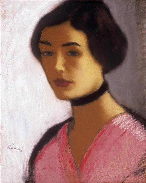 Woman in ink Dress and Black Collar, 1915 - Jozsef Rippl-Ronai
