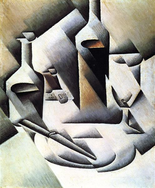 Bottles and Knife, 1911 - 1912 - Juan Gris