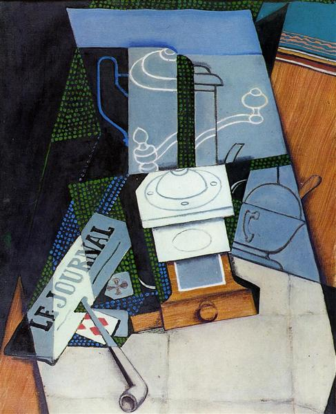 Newspaper with Coffee Mill, 1915 - Juan Gris