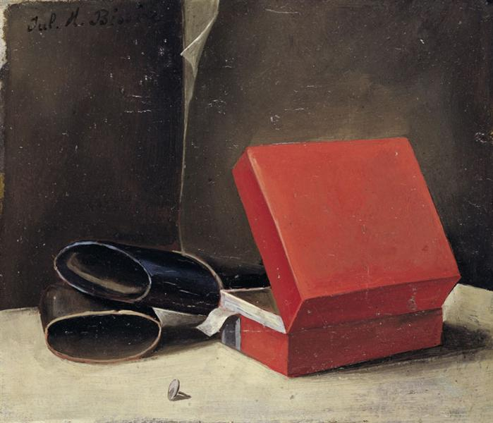 Scatola rossa con astuccio per occhiali, 1923 - Julius Bissier
