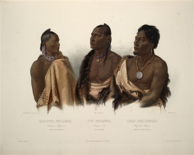 A Missouri Indian, an Oto Indian and the Chief of the Puncas, plate 7 from 'Travels in the Interior of North America', 1844 - Karl Bodmer