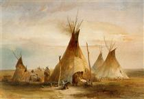 Sioux teepee from Volume 1 of 'Travels in the Interior of North America' - Karl Bodmer