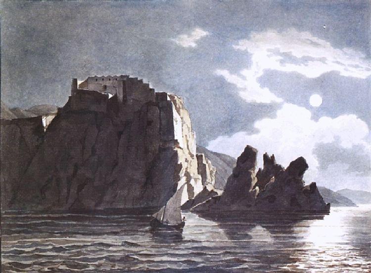 Скалы и луна ночью, 1824 - Карл Брюллов