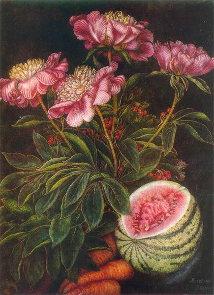 "Still life ""Watermelon, carrots, flowers"", 1951 - Kateryna Bilokur"