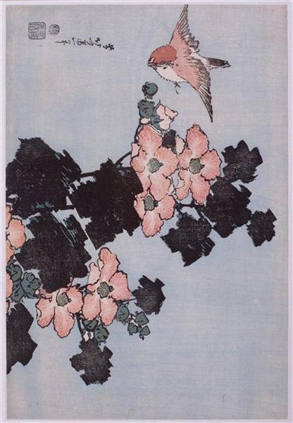 HibiscusandSparrow - Katsushika Hokusai