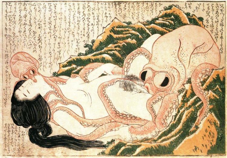 The Dream of the Fisherman's Wife, 1814 - Кацусика Хокусай