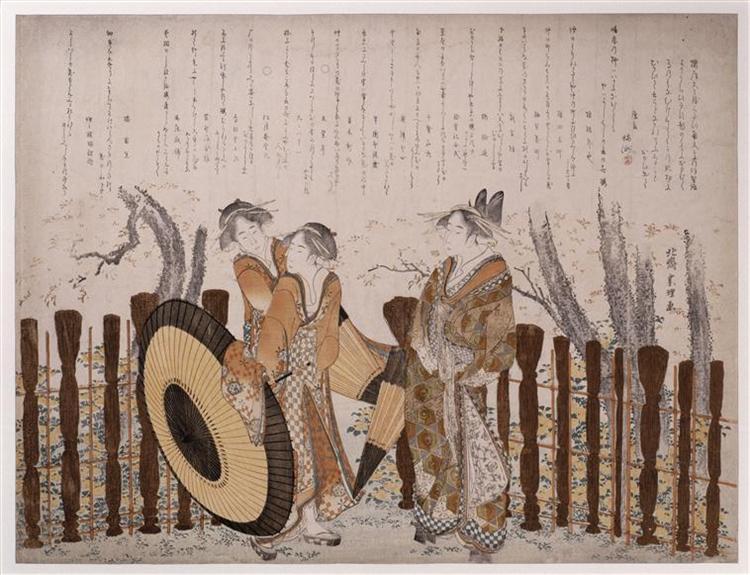 OiranandtwoShinzôadmiring,cherryblossomsofNakanochô - Katsushika Hokusai