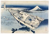 Vista di Fuji da una barca a Ushibori - Katsushika Hokusai