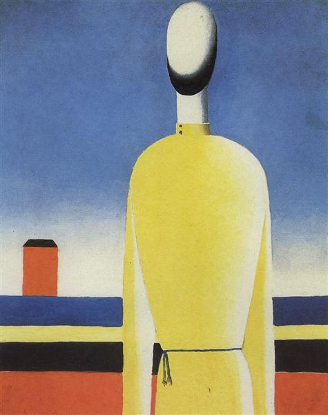 Complex Presentiment: Half-Figure in a Yellow Shirt - Kazimir Malevich