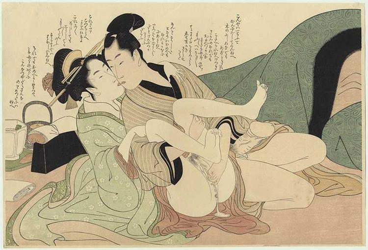 Young courtesan with her lover, 1799 - Utamaro