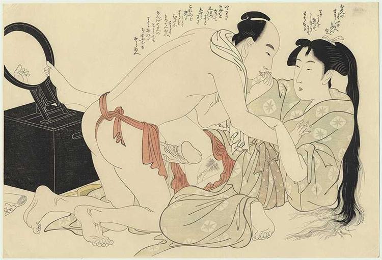 A man interrupts woman combing her long hair, 1799 - Kitagawa Utamaro