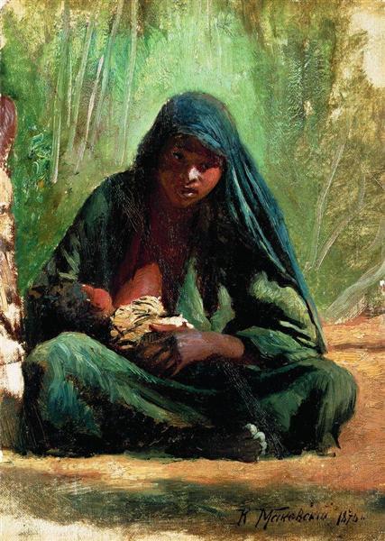 Egyptian with a child, 1876 - Konstantin Makovsky