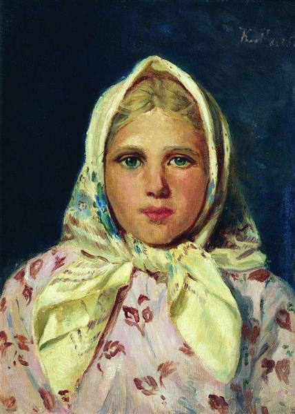 Girl in a Kerchief (Portrait of the Girl), c.1870 - Konstantin Makovsky