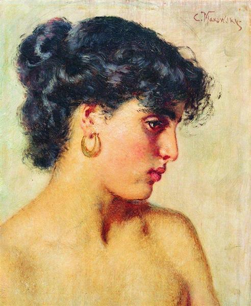 Portrait of dark-haired beauty - Konstantin Makovsky