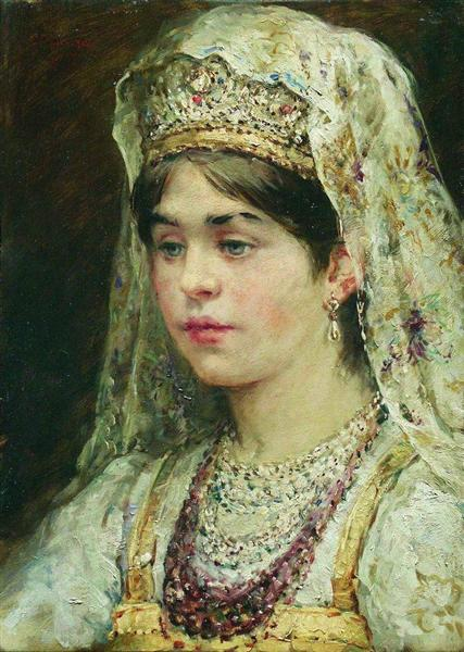 Portrait of the Girl in a Russian Dress - Konstantin Makovsky