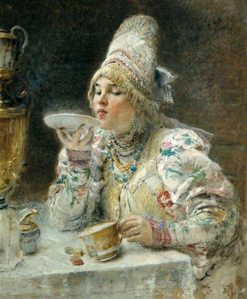 Tea Drinking, 1914 - Konstantin Jegorowitsch Makowski