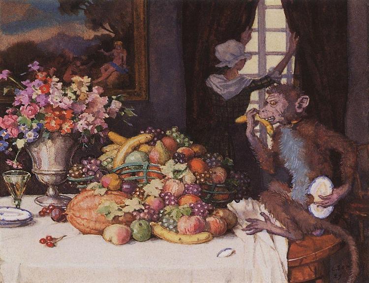 A Greedy Monkey, 1929 - Konstantin Somov