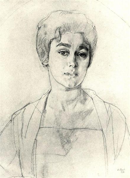 Portrait of N. Vysotskaya, 1917 - Konstantin Somov