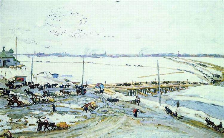 Crossing through Oka. Nizhny Novgorod, 1909 - Konstantin Yuon