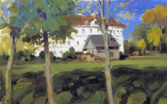Landscape with white house - Konstantin Yuon