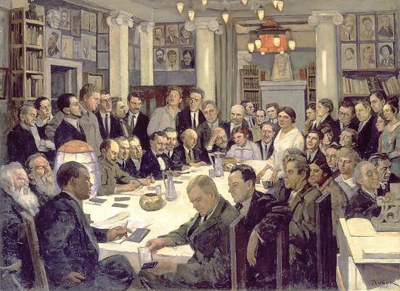 Meeting of the association 'Nikitinsky subbotniks', 1930 - Konstantin Yuon