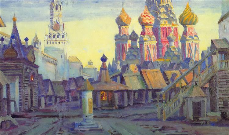 Stage design for Mussorgsky's opera 'Khovanshina', 1940 - Konstantin Yuon