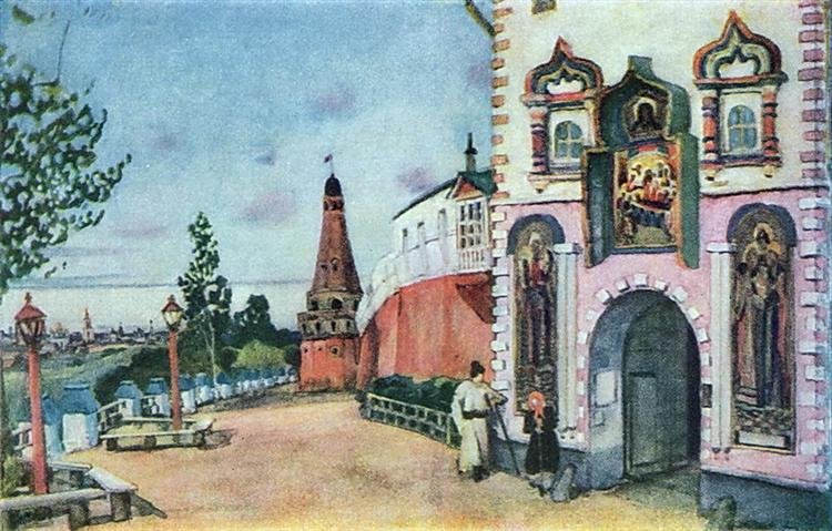 "Stage design for Ostrovsky's comedy ""Heart is not a Stone"", 1915 - Konstantin Yuon"
