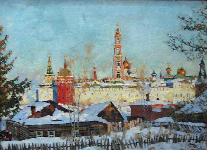 The View of Troitse-Sergiyev Monastery from West, 1921 - Konstantin Yuon