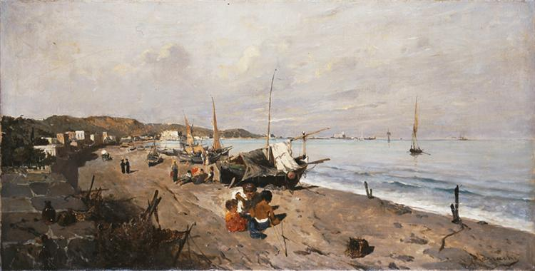 Boats and Children on the Beach, 1875 - Konstantinos Volanakis