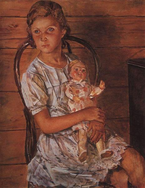 Girl with a Doll, 1937 - Kuzma Petrov-Vodkin