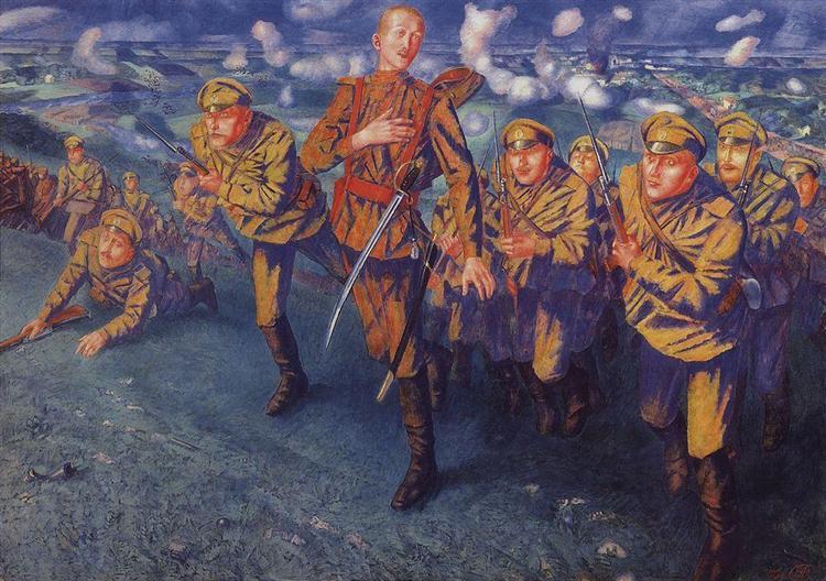 On the Line of Fire, 1916 - Kuzma Petrov-Vodkin