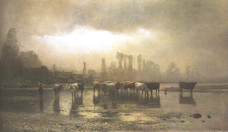 Watering, 1880 - Laszlo Mednyanszky